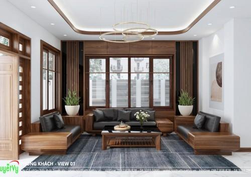 Thiết kế nội thất gỗ tự nhiên cho nhà anh Đức
