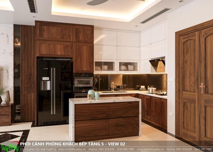 Tủ bếp gỗ óc chó cao cấp nhà khách hàng chị Trang ( Dolphin Mỹ plaza Mỹ Đình )