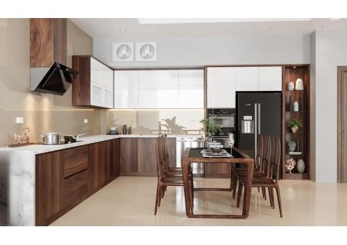 Tủ bếp cao cấp gỗ óc chó nhà khách hàng chị Thắng ( Vũ Trọng Phụng )