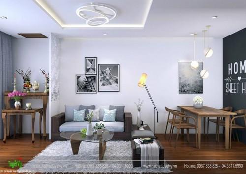 Thiết kế nội thất chung cư Five Star - Kim Giang, căn hộ 01