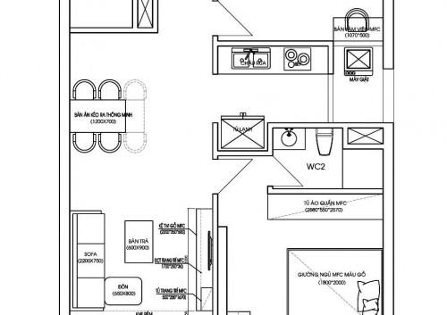 Thiết kế nội thất chung cư Goldmark City tòa Sapphire 3 căn hộ 01