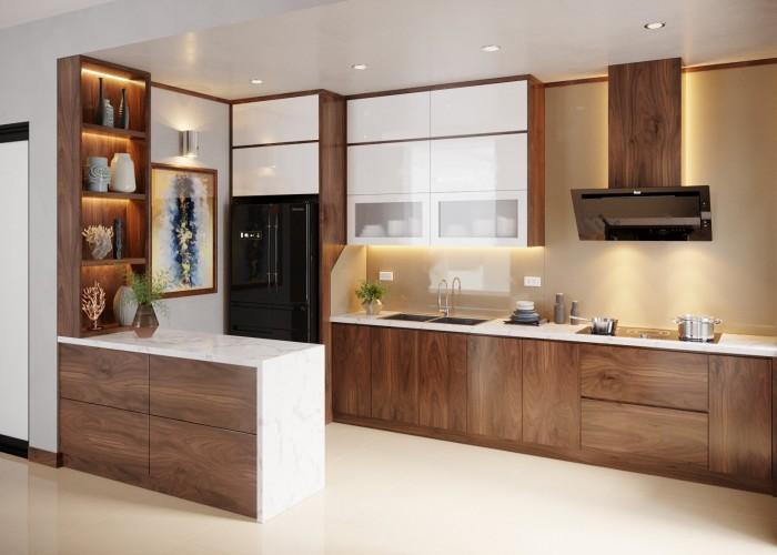 Mẫu tủ bếp cho những khàng thích sự đơn giản nhưng phải đầy đủ công năng cũng như thẩm mỹ