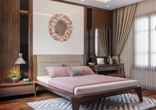 Phòng ngủ gỗ óc chó cao cấp nhà khách hàng em Linh ( Vũ Trọng Phụng )
