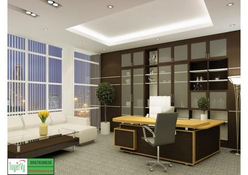 Thiết kế, sản xuất, thi công nội thất phòng giám đốc tại Hà Nội PGD02