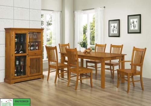Bộ bàn ghế ăn 6 ghế đơn giản BA10