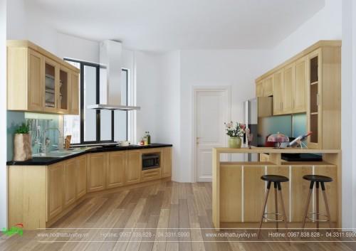 Mẫu tủ bếp veneer sồi - TB22