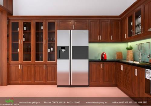 Tủ bếp chữ U gỗ Xoan Đào - TB25