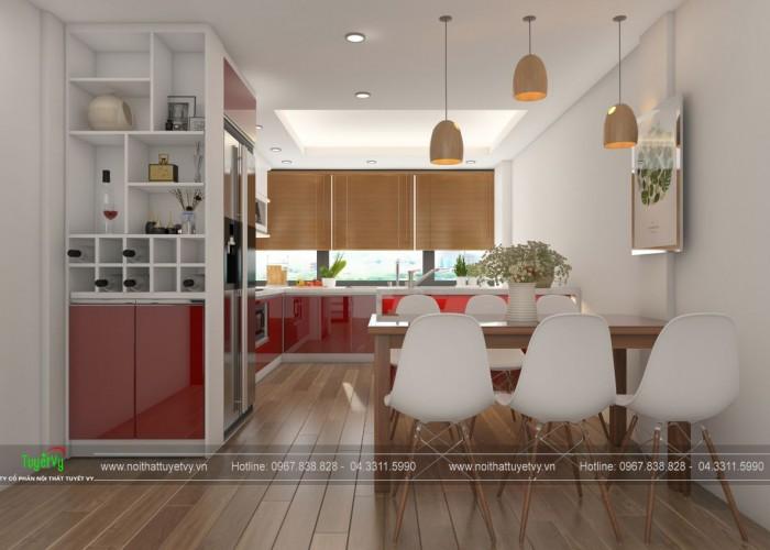 Tủ bếp gỗ Acrylic bóng gương TB21