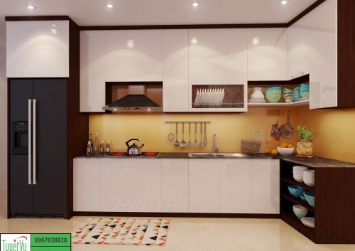 Tủ bếp gỗ xoan đào, mặt cánh Acrylic TB12