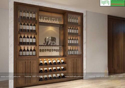 Mẫu tủ rượu âm tường đẹp TR12