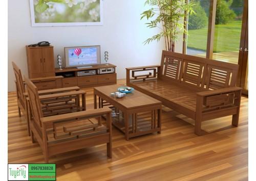 Bàn ghế phòng khách gỗ tư nhiên BG08