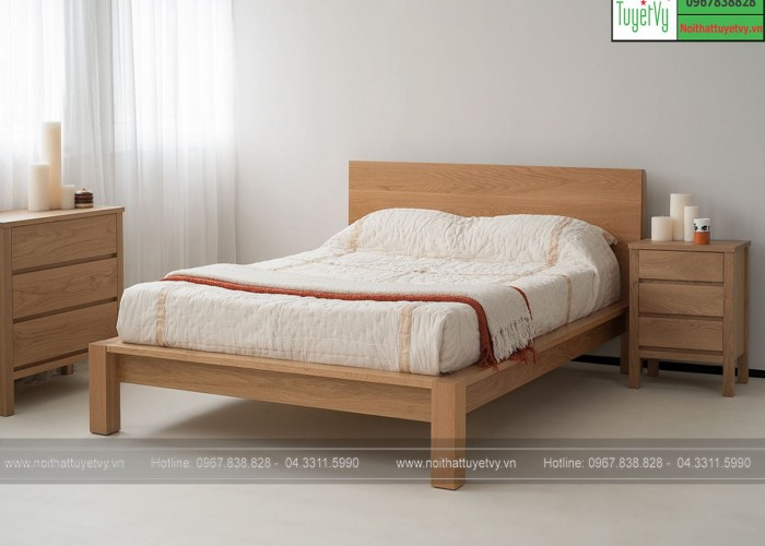 Giường gỗ Sồi tự nhiên GN17