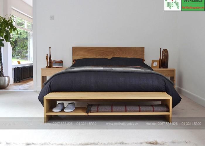 Mẫu giường gỗ đẹp đơn giản GN15