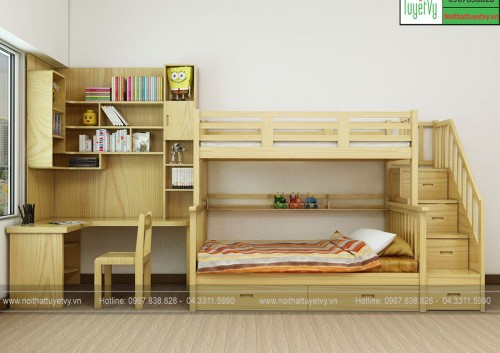 Giường tầng gỗ Sồi GT14