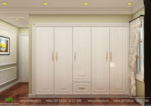 Tủ quần áo âm tường tân cổ điển - TQA14