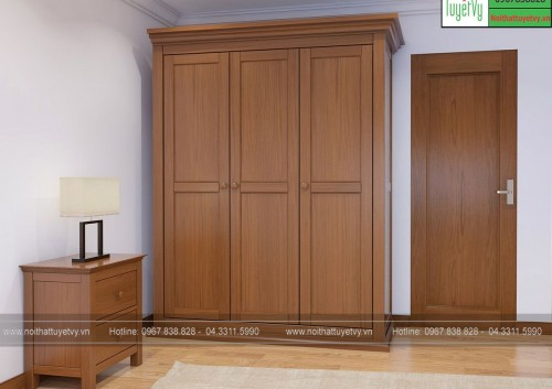Tủ quần áo gỗ Sồi 3 buồng TQA13