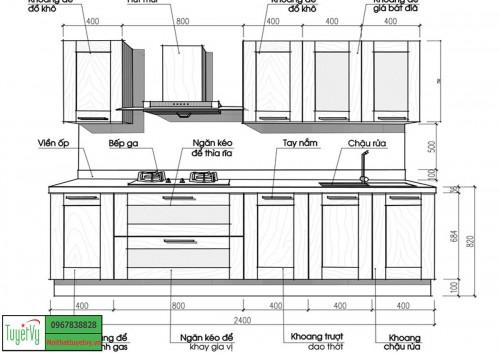 Thông số kỹ thuật và kích thước tủ bếp tiêu chuẩn