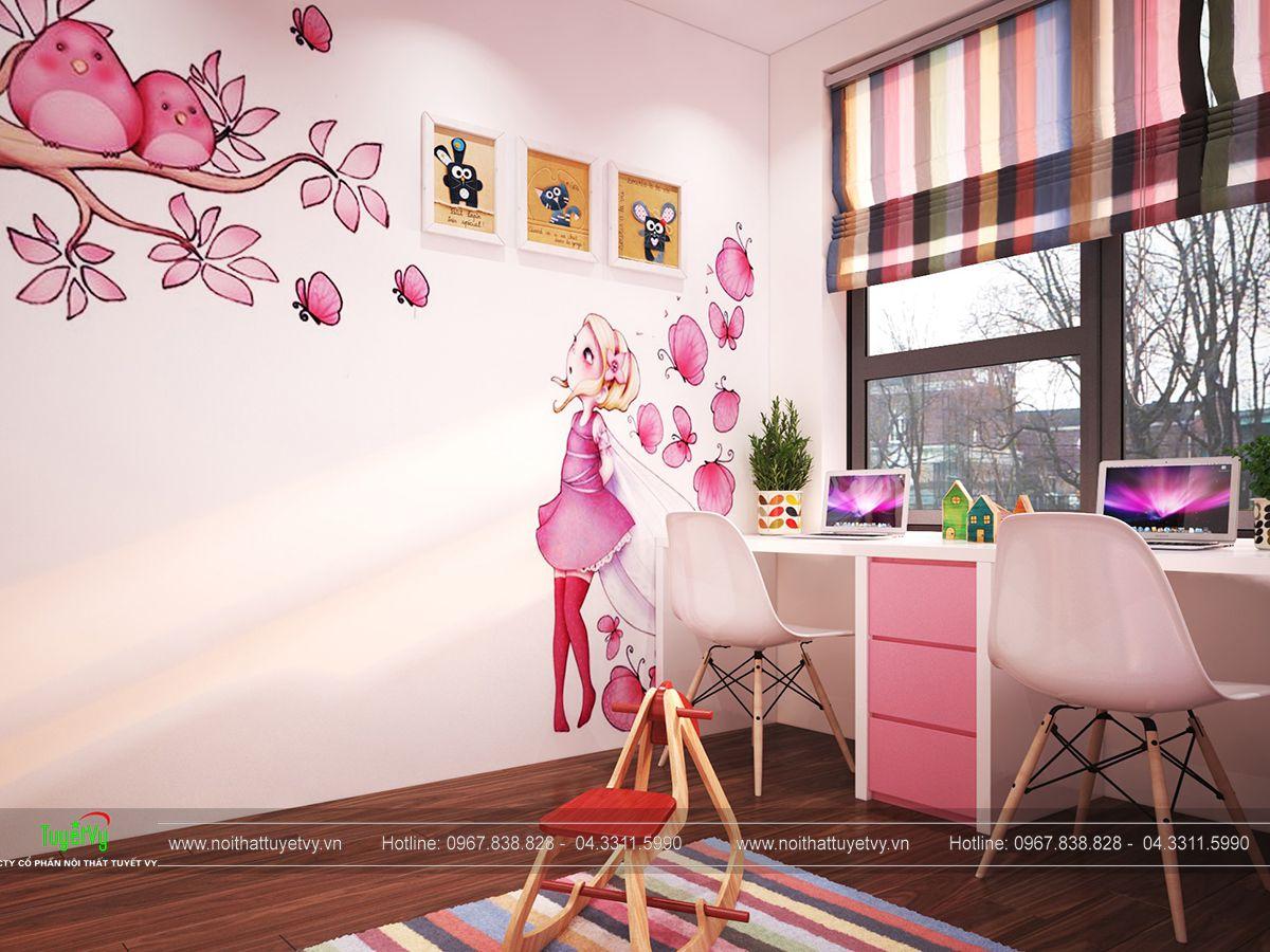 nội thất phòng ngủ con gái chung cư ecogreen
