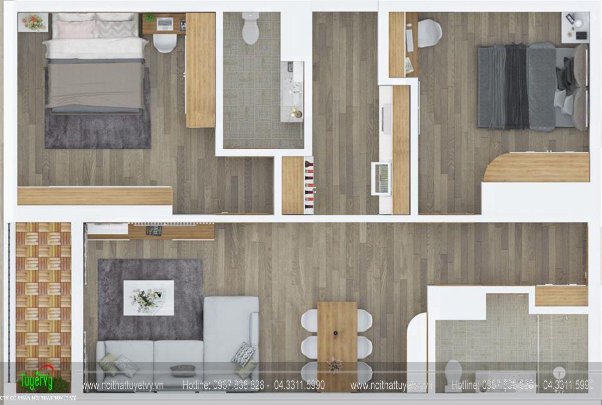 Thiết kế nội thất chung cư goldmark tòa ruby 2 căn 1 - 01
