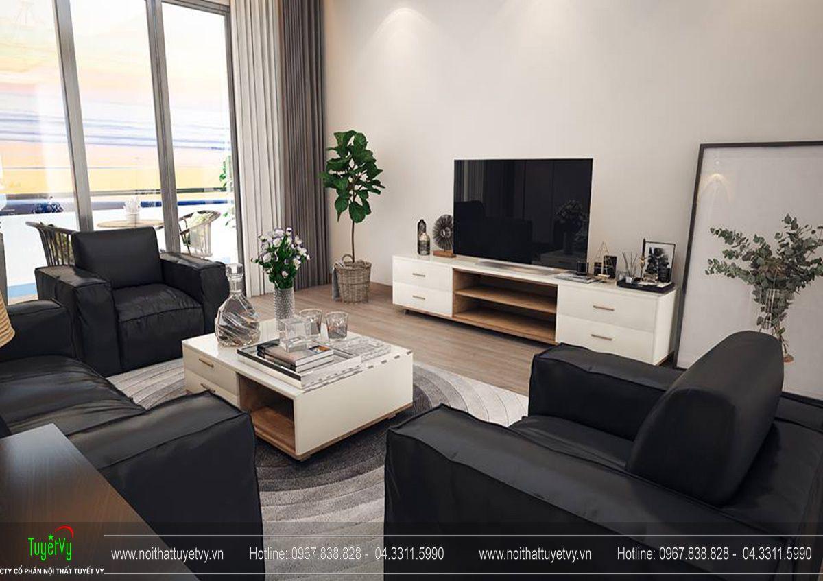 Thiết kế nội thất phòng khách và bếp chung cư Goldmark tòa Sapphire 1 căn 03