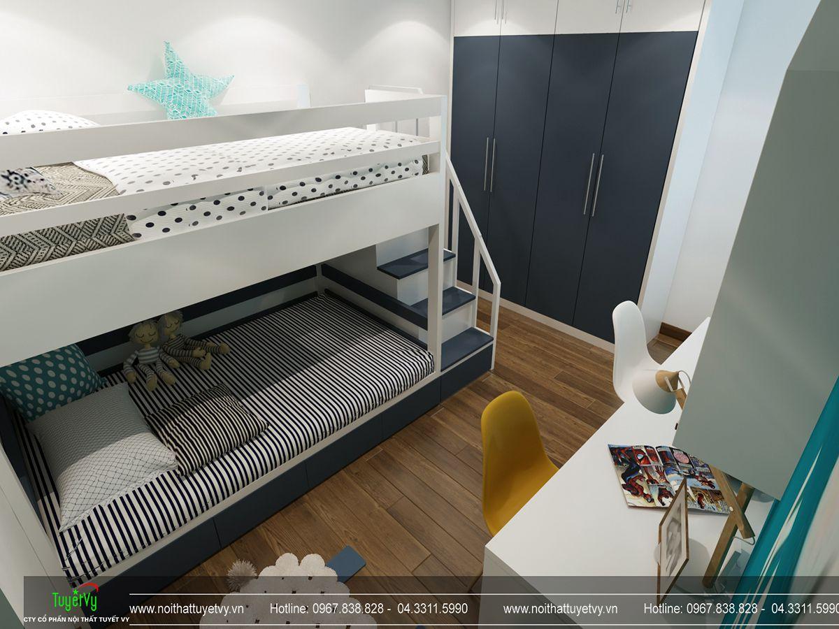 thiết kế nội thất phòng ngủ con chung cư goldmark city