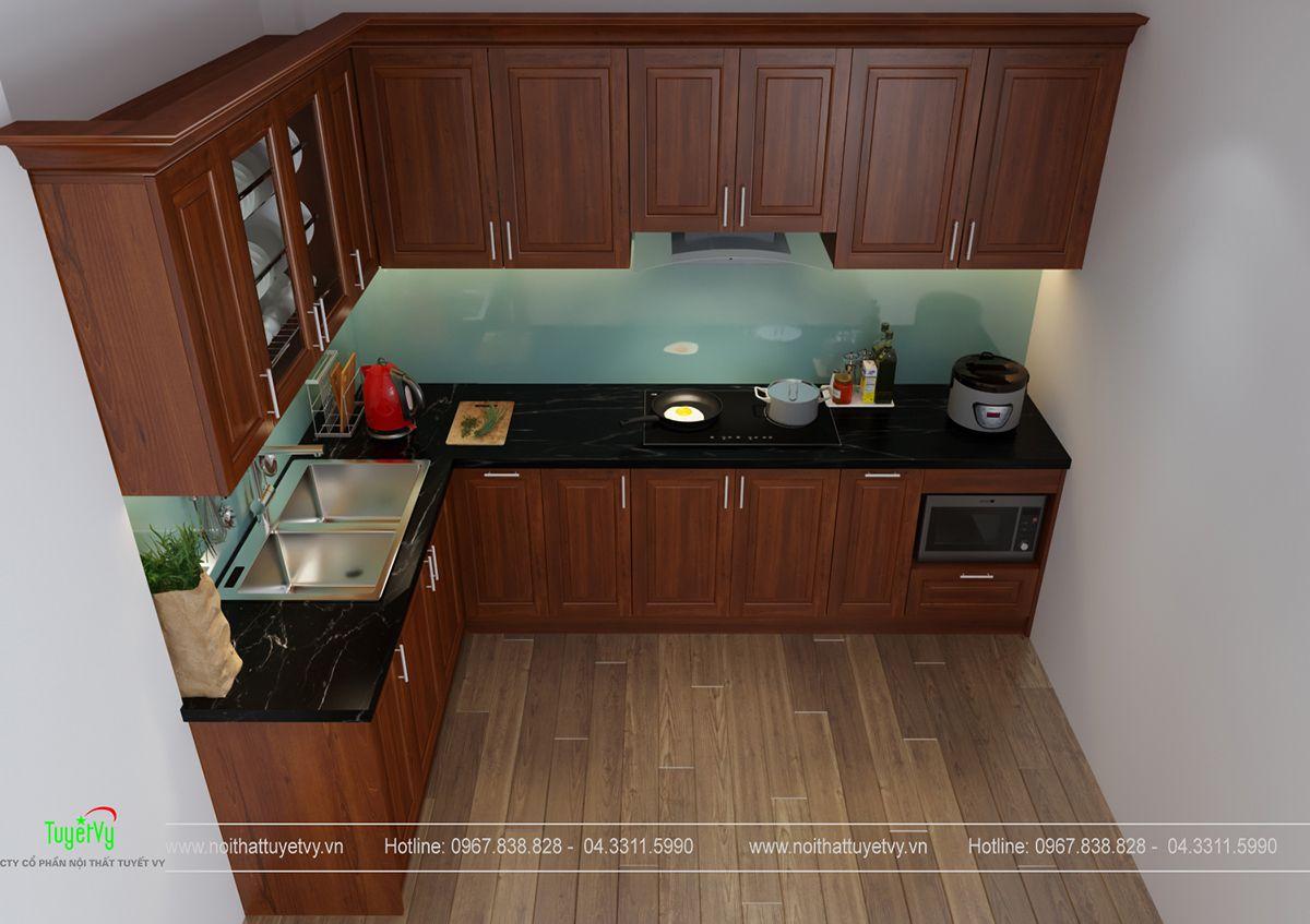Tủ bếp xoan đào giá rẻ - TB26
