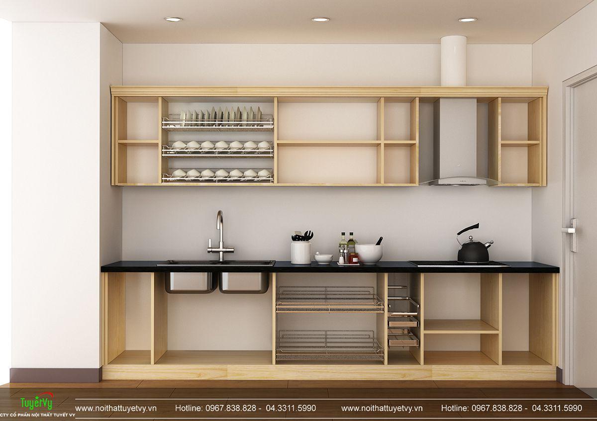 Tủ bếp chữ I gỗ Sồi