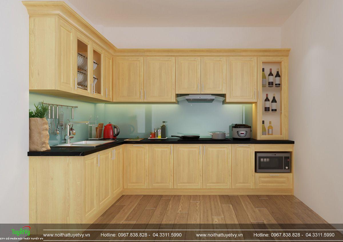 Tủ bếp gỗ sồi giá rẻ - TB30
