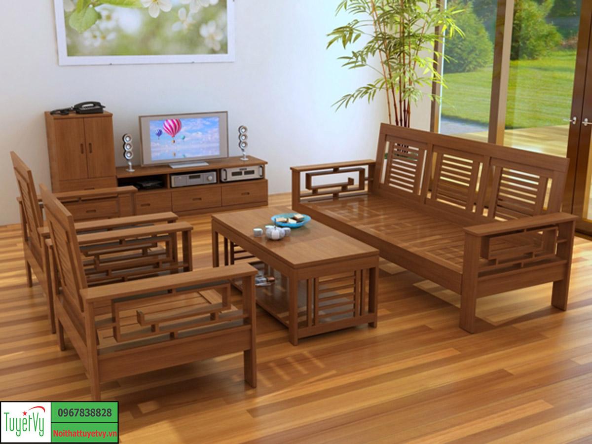 Bàn ghế phòng khách gỗ tư nhiên