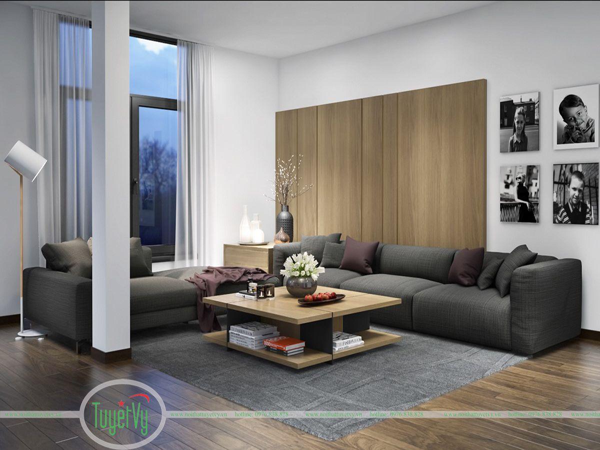 Phòng khách độc đáo với gam màu cơ bản