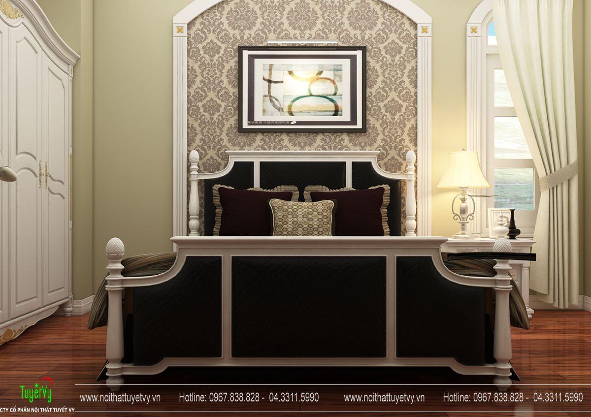 Mẫu giường tân cổ điển gỗ Gõ Đỏ 01