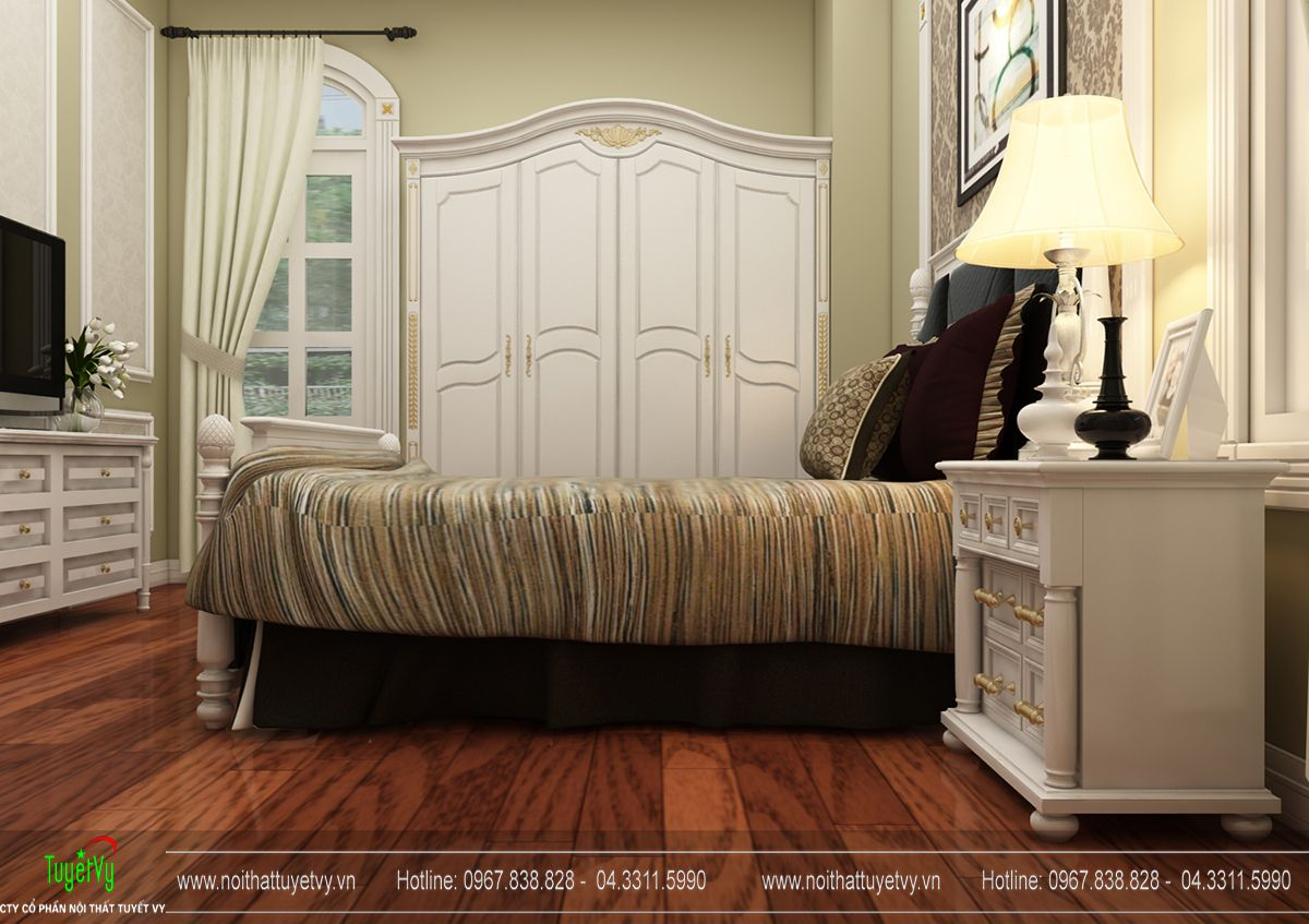 Mẫu giường tân cổ điển gỗ Gõ Đỏ 02