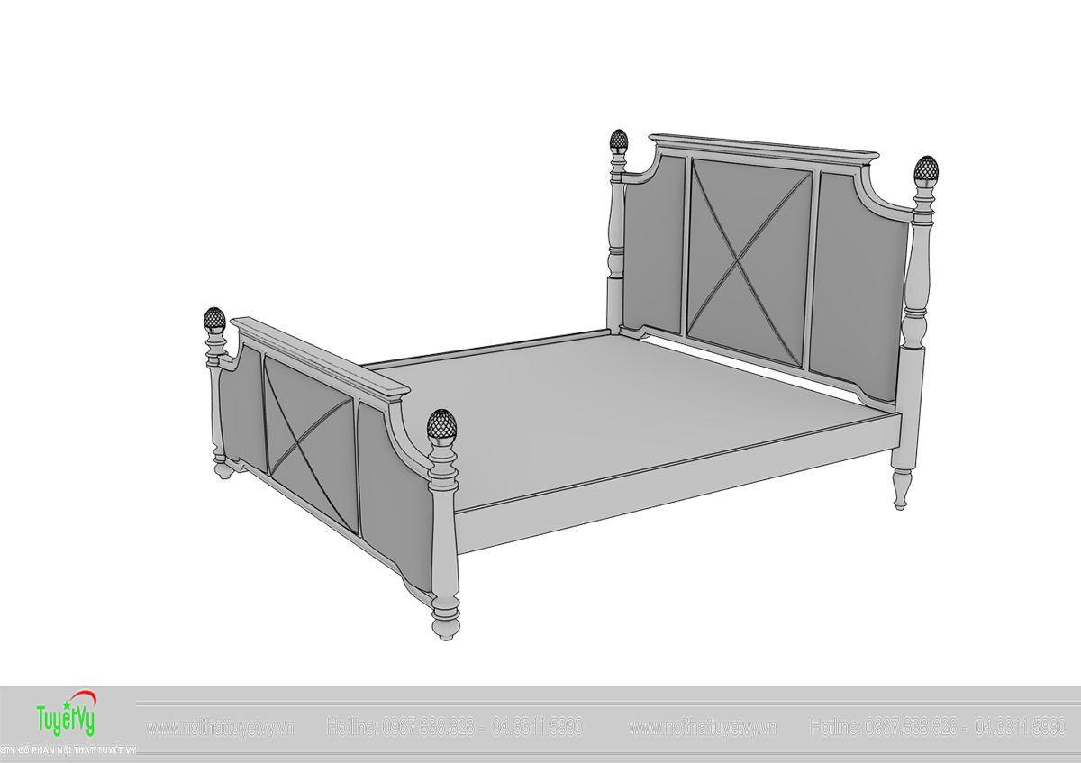 Mẫu giường tân cổ điển gỗ Gõ Đỏ 03