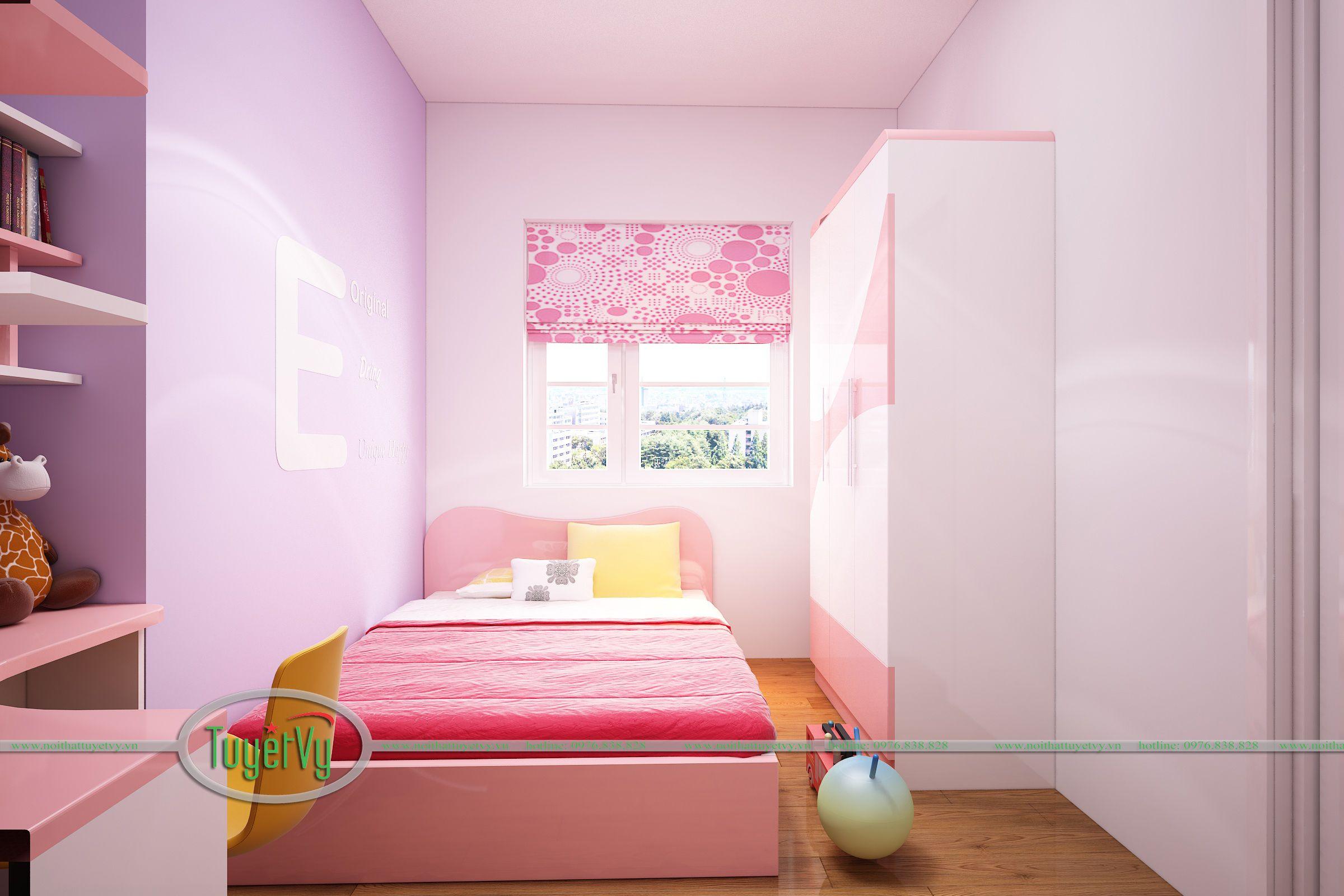 phòng ngủ bé gái màu hồng đẹp 1