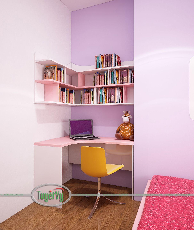phòng ngủ bé gái màu hồng đẹp 2