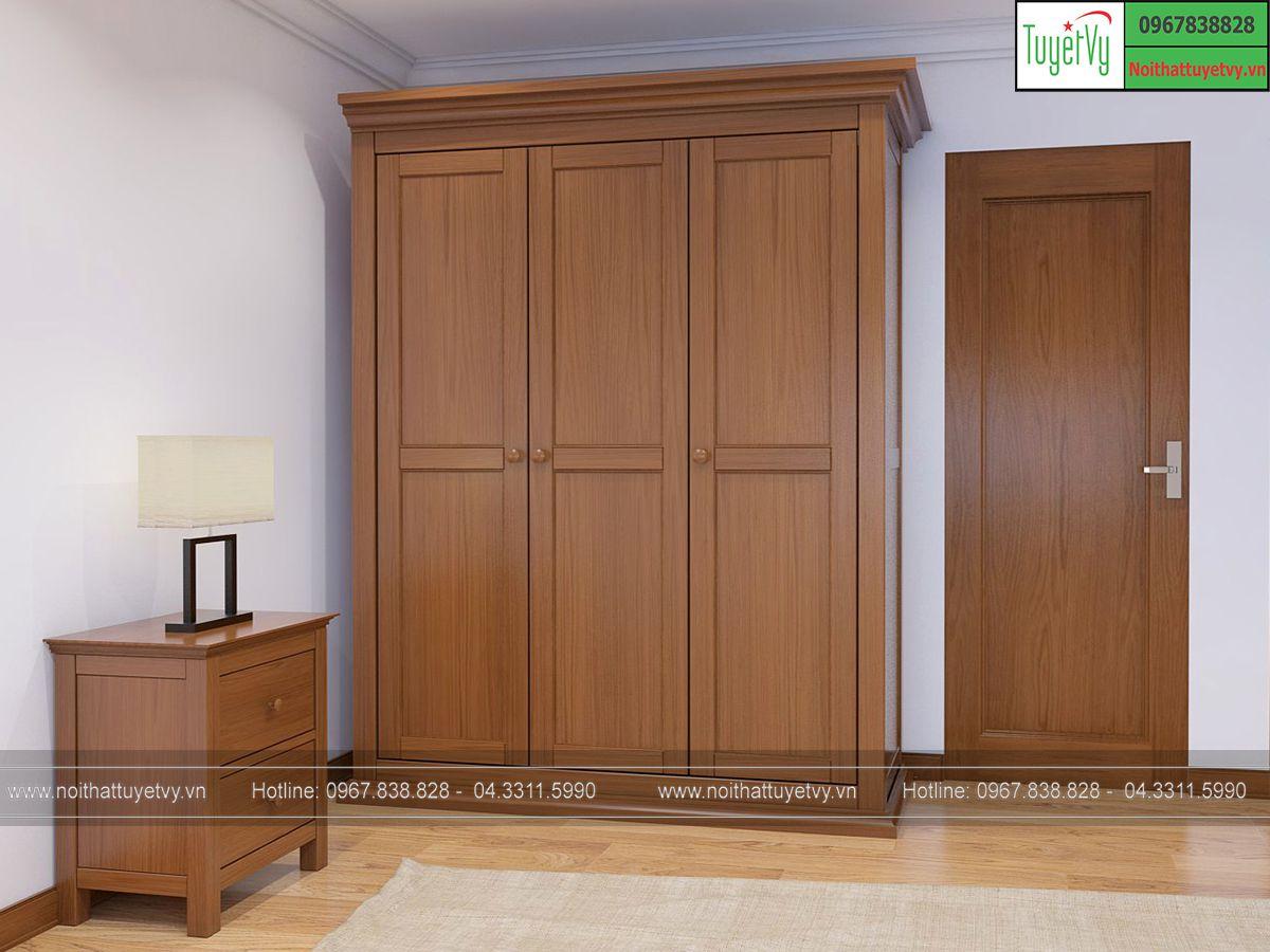 Tủ quần áo gỗ Sồi 3 buồng
