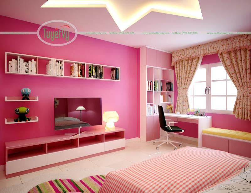 phòng ngủ bé gái màu hồng