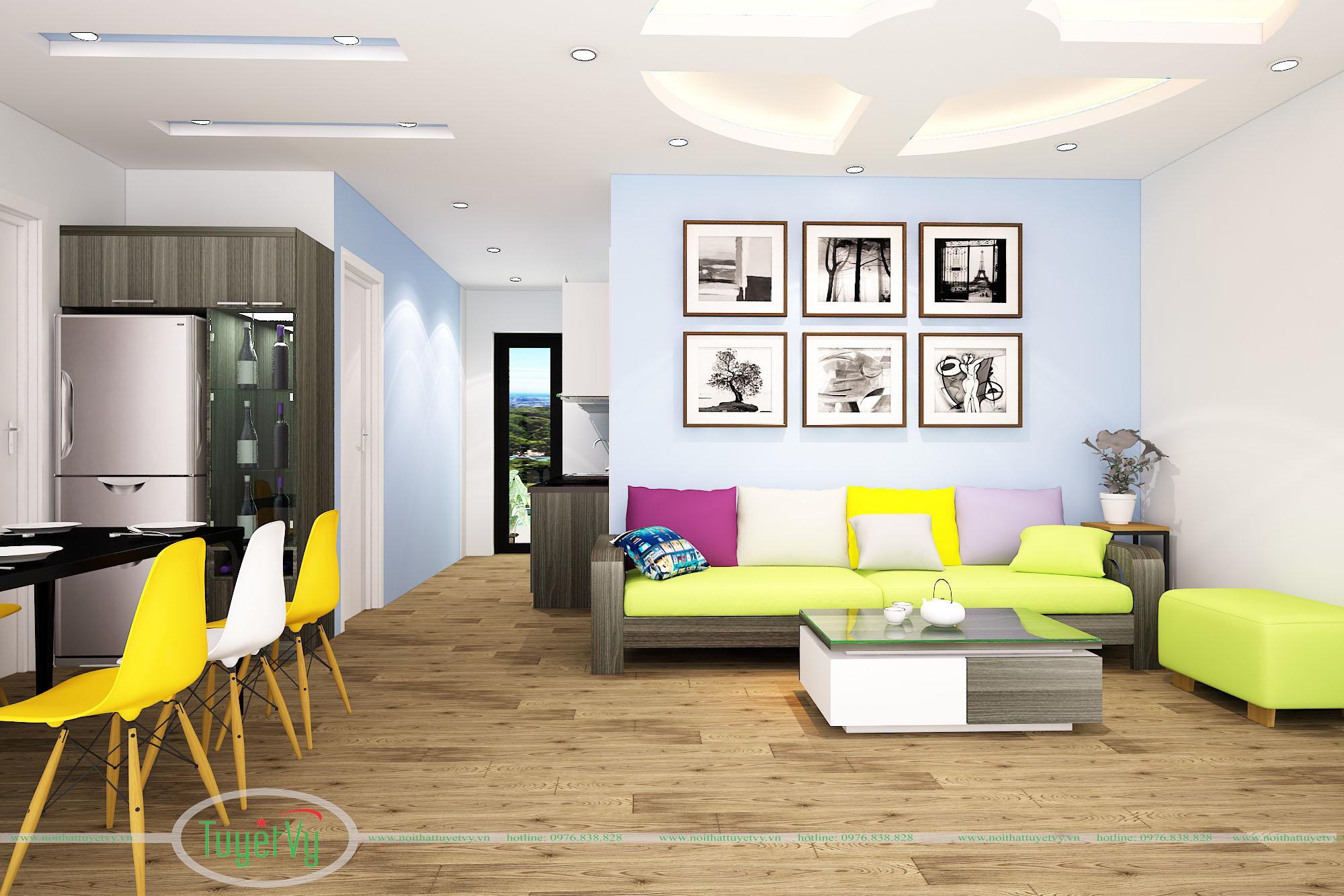 nội thất phòng khách màu vàng