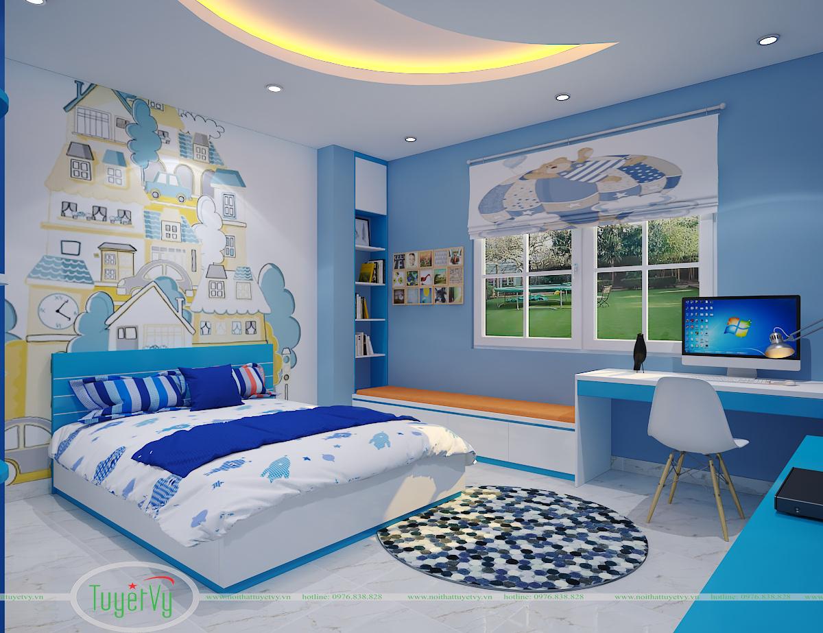 nội thất phòng ngủ màu xanh lam