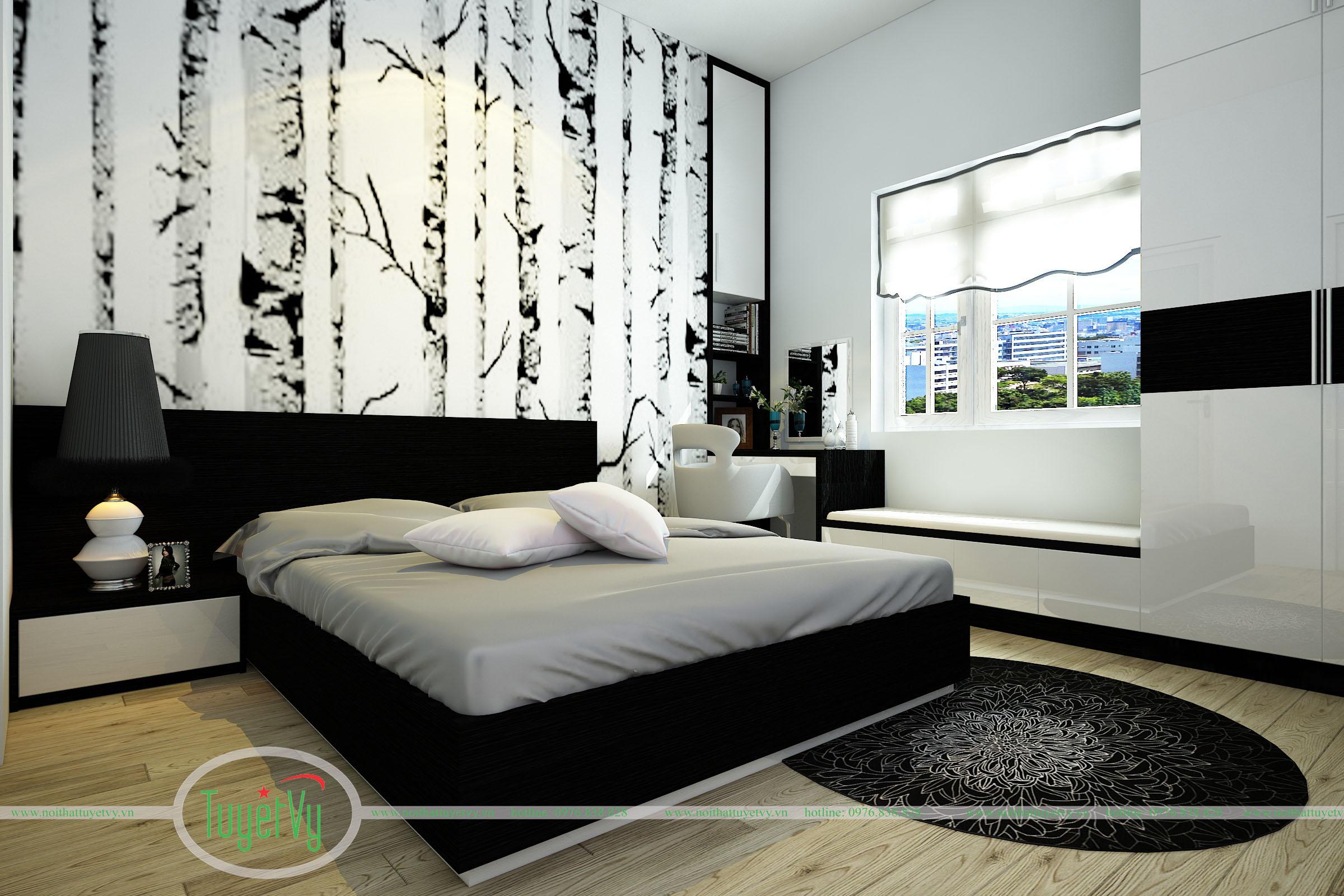 Nội thất phòng ngủ màu đen hiện đại